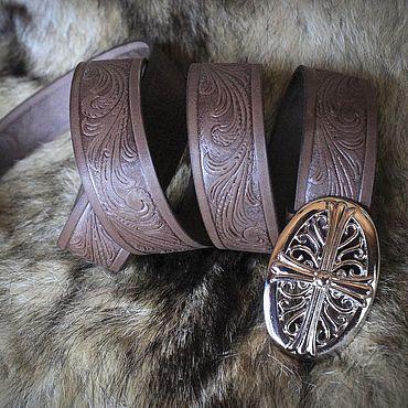 Accessories handmade. Livemaster - original item Brown embossed genuine leather strap. Handmade.