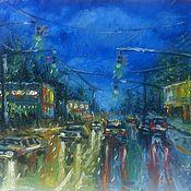 """Картины и панно ручной работы. Ярмарка Мастеров - ручная работа Картина """"Мокрая дорога"""", масло. Handmade."""