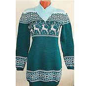 Одежда ручной работы. Ярмарка Мастеров - ручная работа Платье - свитер с норвежским орнаментом Изумруд. Handmade.