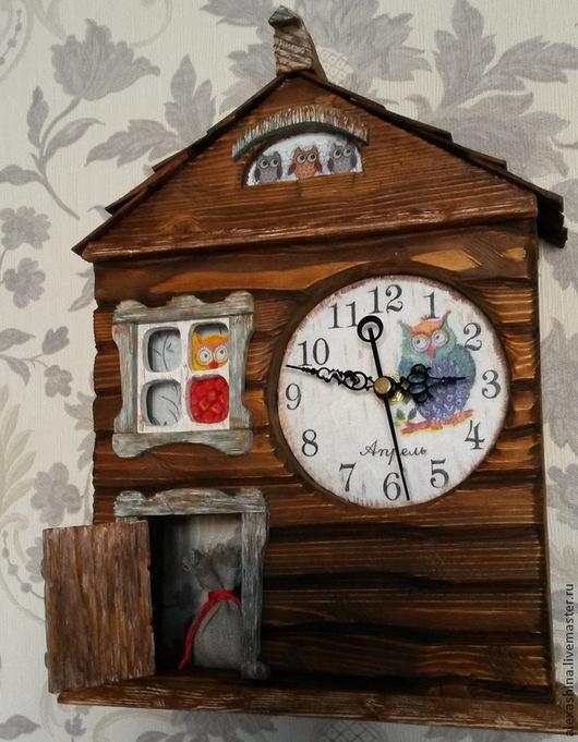 Часы для дома ручной работы. Ярмарка Мастеров - ручная работа. Купить Домик для совы.. Handmade. Коричневый, часы в детскую, избушка