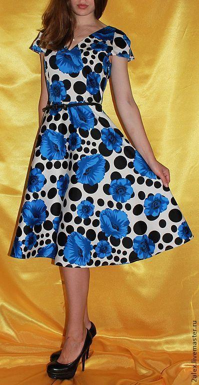 """Платья ручной работы. Ярмарка Мастеров - ручная работа. Купить Платье """"Маки"""". Handmade. Цветочный, платье с цветами, 5% эластан"""