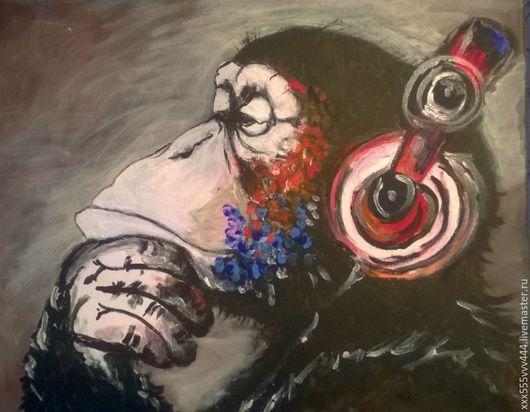 Животные ручной работы. Ярмарка Мастеров - ручная работа. Купить обезъянка меломан картина акрилом. Handmade. Комбинированный, обезъяна, портрет