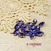 Материалы для творчества handmade. Livemaster - original item Glass rhinestone 10h5 mm Cobalt in gold and silver rims. Handmade.