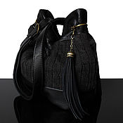 Сумки и аксессуары handmade. Livemaster - original item New Black leather bag, knitted. Handmade.
