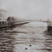 Картины и панно handmade. Livemaster - original item Painting watercolour Petersburg. Fog. Handmade.