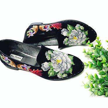 """Обувь ручной работы. Ярмарка Мастеров - ручная работа Мокасины """"Лето». Handmade."""
