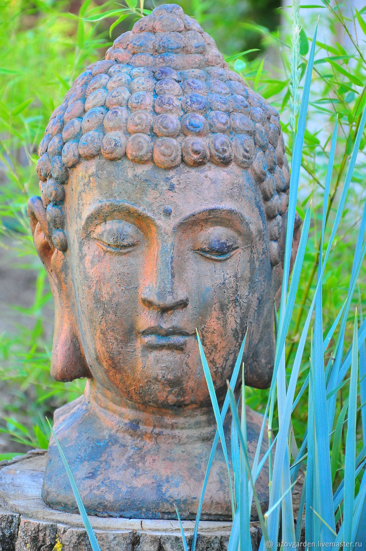 Buddha head concrete aged rusty oxidized metal, Garden figures, Azov,  Фото №1