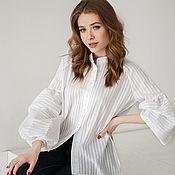 Одежда handmade. Livemaster - original item White striped boho cotton blouse. Handmade.