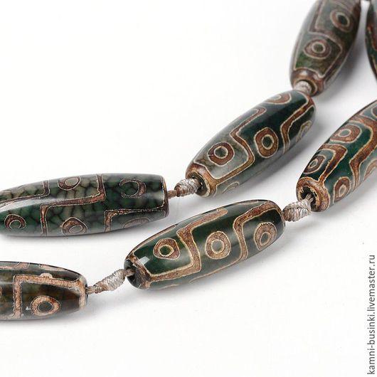 Тибетский Агат Дзи 3 глаза 40 мм бусина челнок оливковый. Бусины агата дзи для колье, агат Дзе бусины для браслетов, агат дзи бусина для серег.