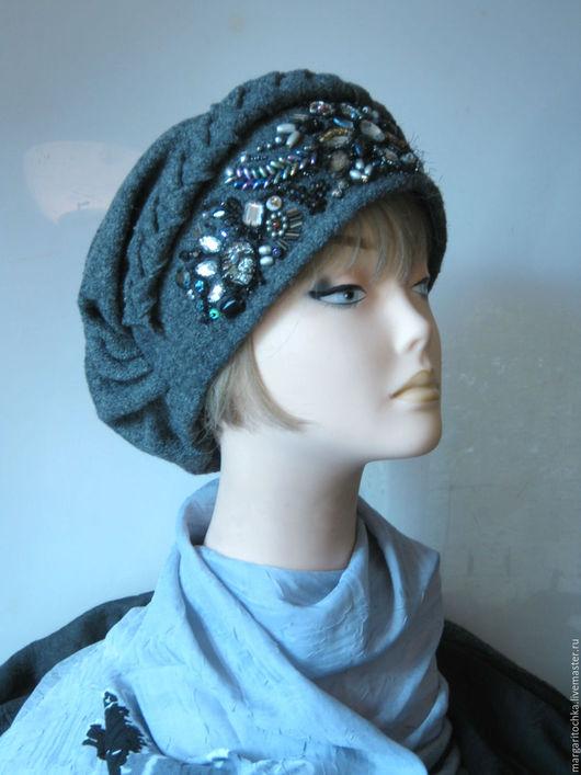 Шапки ручной работы. Ярмарка Мастеров - ручная работа. Купить Боярышня - 08 шапка с вышивкой серая. Handmade. Темно-серый