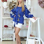 Одежда handmade. Livemaster - original item Blouse blue with embroidered white flowers. Handmade.