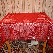 Для дома и интерьера ручной работы. Ярмарка Мастеров - ручная работа Новогодняя красная скатерть. Handmade.