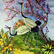 """Картины и панно ручной работы. Ярмарка Мастеров - ручная работа """"Журавлиная верность"""". Handmade."""
