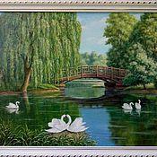 """Картины и панно ручной работы. Ярмарка Мастеров - ручная работа Картина """"Белые лебеди"""". Handmade."""