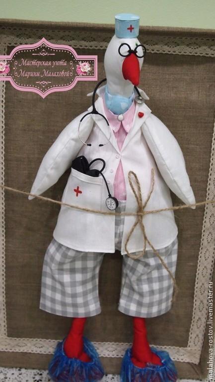 Куклы Тильды ручной работы. Ярмарка Мастеров - ручная работа. Купить Интерьерная игрушка Гусь-Доктор. Handmade. Разноцветный