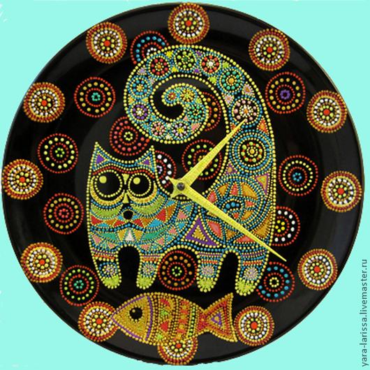 """Часы для дома ручной работы. Ярмарка Мастеров - ручная работа. Купить Часы настенные интерьерные """"Котейка с рыбкой"""". Handmade. рыбка"""