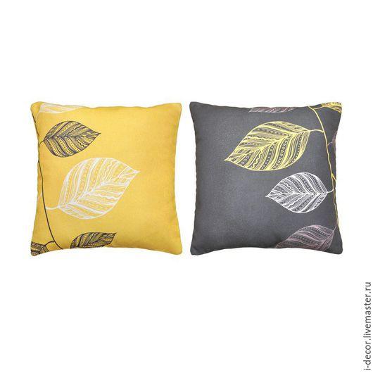 Декоративная подушка из коллекции Стебель. Комплект. Темный лист. Диванная подушка, декоративная дизайнерская подушка, подушка с принтом. Подушка в подарок.