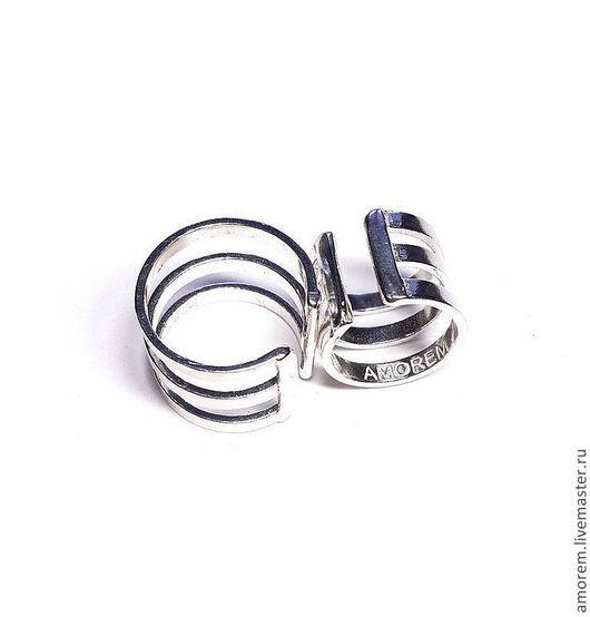 Кольца ручной работы. Ярмарка Мастеров - ручная работа. Купить Кольца на две фаланги пальцев Трио. Handmade. Серебряный