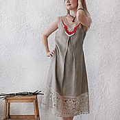 """Одежда ручной работы. Ярмарка Мастеров - ручная работа Сарафан с кружевом """"Льняное серебро"""". Handmade."""