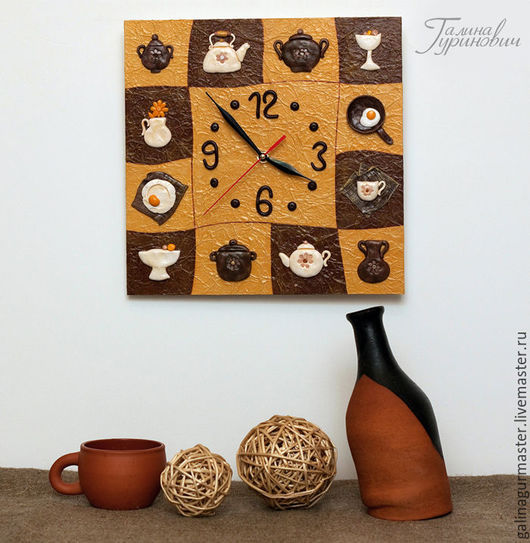 """Часы для дома ручной работы. Ярмарка Мастеров - ручная работа. Купить Настенные часы для кухни """"Посудка"""" (полимерная глина). Handmade."""
