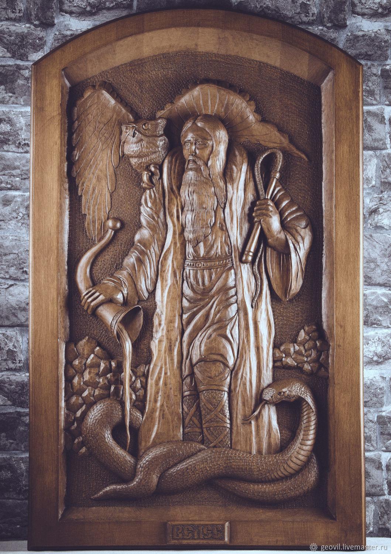 Veles - God of wisdom. Beech 100h60 cm, handmade, Panels, St. Petersburg,  Фото №1