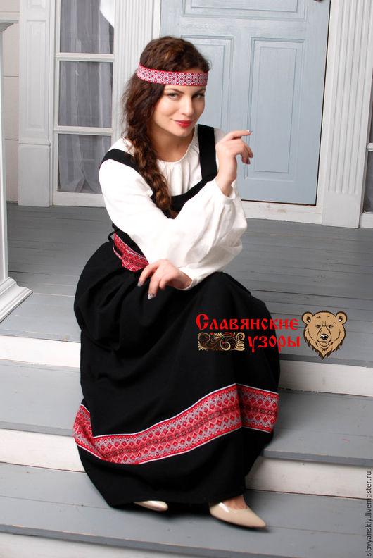 Платья ручной работы. Ярмарка Мастеров - ручная работа. Купить Сарафан круговой черный. Handmade. Черный, платье длинное, из льна