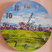 Для дома и интерьера handmade. Livemaster - original item Clock handmade on a wooden base, hand painted, spring, landscape. Handmade.