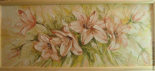 Картины цветов ручной работы. Ярмарка Мастеров - ручная работа. Купить лилии. Handmade. Разноцветный, картина, картина в подарок