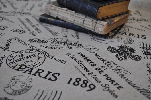 """Шитье ручной работы. Ярмарка Мастеров - ручная работа. Купить Ткань лен """"Французские лилии"""". Handmade. Бежевый, ткани, лилия"""