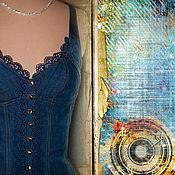 Одежда ручной работы. Ярмарка Мастеров - ручная работа Летний джинсовый топ синий с кружевом. Handmade.