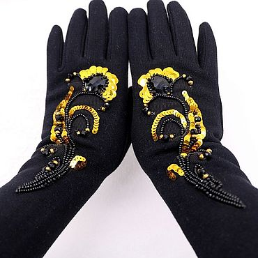 Accessories handmade. Livemaster - original item Gloves with embroidery winter insulated. Handmade.