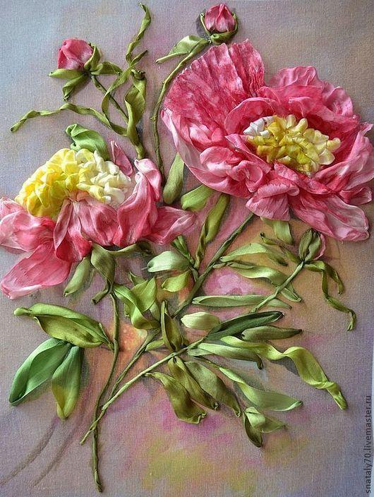 """Картины цветов ручной работы. Ярмарка Мастеров - ручная работа. Купить Картина  вышитая лентами """"Цветок из Китая - ПИОН"""". Handmade."""