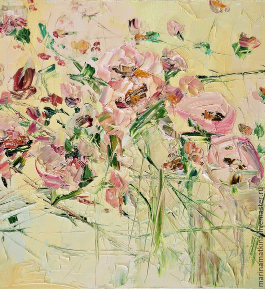 нежная бежевая кремовая рельефная картина с цветами в спальню мастихин. Марина Маткина Пермь