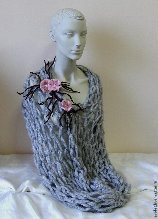 шарф, шарф вязаный, шарф-снуд, шарф-снуд вязаный шарф ручной работы, шарф сетка, купить шарф Горбунова Оксана `Evolet`