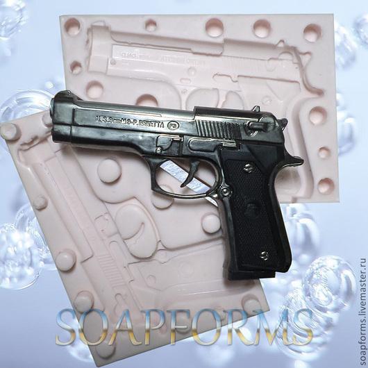 """Силиконовая форма для мыла """"Пистолет -2""""  (2D и 3D)"""