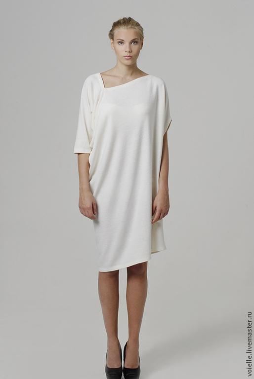 5751df452de Платье белое тёплое трикотажное c ангорой миди с драпировкой ...