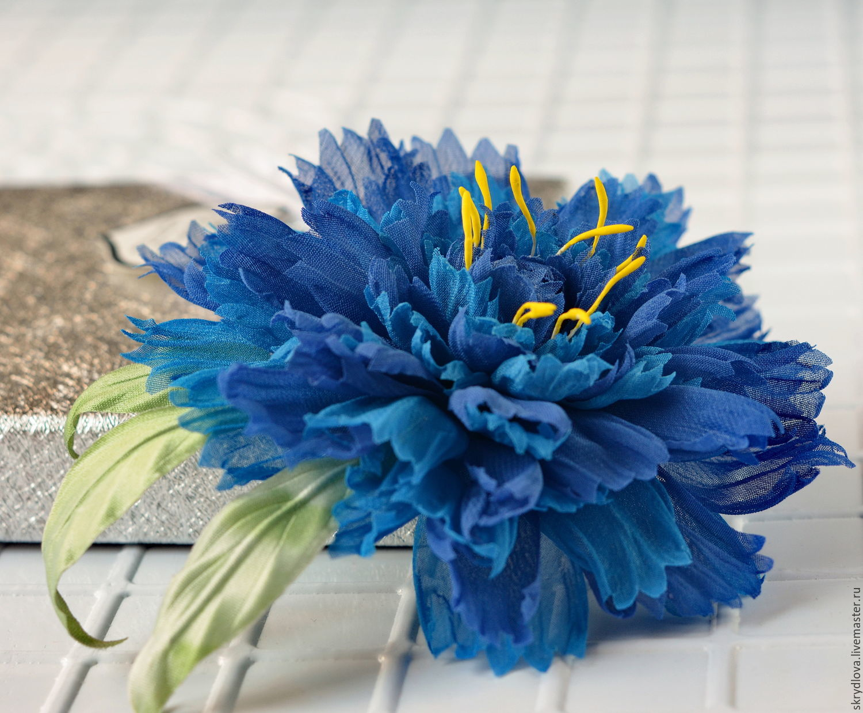 Brooch made of silk cornflower, Brooches, Lyubertsy,  Фото №1