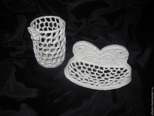 """Ванная комната ручной работы. Ярмарка Мастеров - ручная работа. Купить Керамический набор для ванной комнаты """"Бабочки"""". Handmade. Белый"""