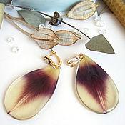 Украшения handmade. Livemaster - original item Earrings with Real Tulip Petals Purple Yellow Gold. Handmade.