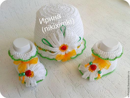 Для новорожденных, ручной работы. Ярмарка Мастеров - ручная работа. Купить ШАПОЧКА И ПИНЕТКИ  РОМАШКИ. Handmade. Белый