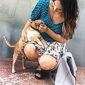Одежда ручной работы. Ярмарка Мастеров - ручная работа Вязаный джемпер из мериноса с шишками бирюзового цвета. Handmade.