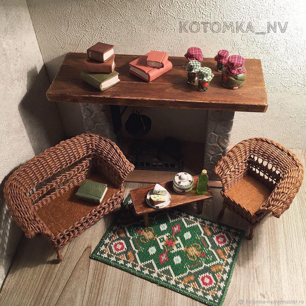 Плетеная мебель для кукол - кресло и диван - кукольная миниатюра #kotomka_nv_set_F005 - набор кукольной мебели плетеной