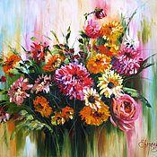 Осенние цветы картина холст масло розы георгины осенний букет