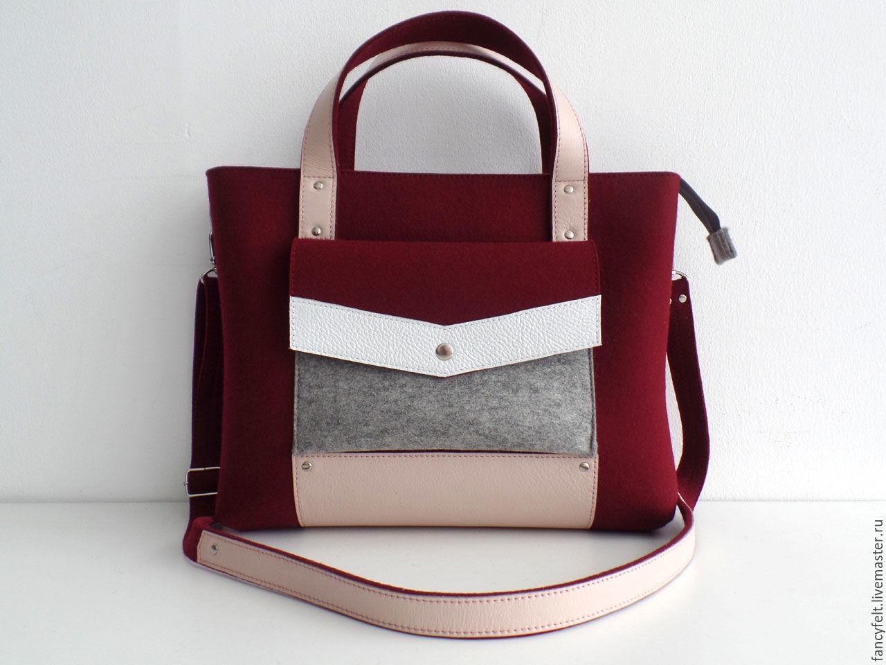 5467de67e552 Женские сумки ручной работы. Ярмарка Мастеров - ручная работа. Купить  Бордовая сумка-портфель ...