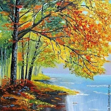 """Картины и панно ручной работы. Ярмарка Мастеров - ручная работа Картина маслом """"Осень"""" осенний пейзаж река. Handmade."""