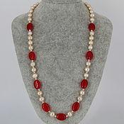 Украшения handmade. Livemaster - original item Necklace of natural pink pearls and carnelian