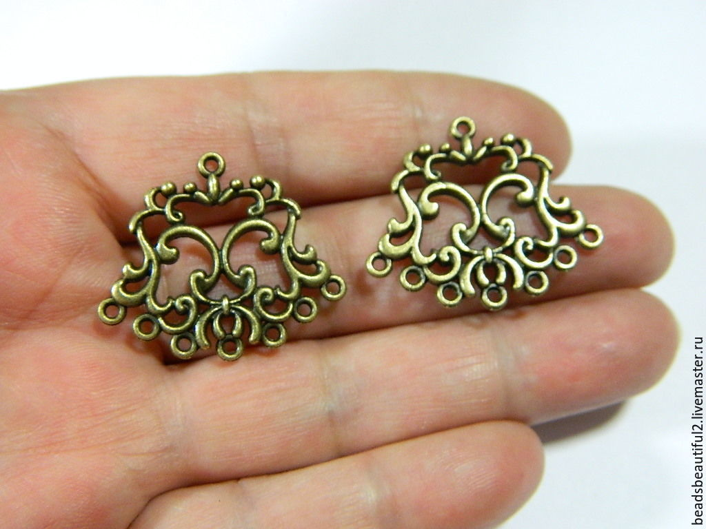 Connector vintage, antique bronze, 26 x 30 x 2 mm. for PCs, Beads1, Saratov,  Фото №1