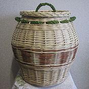 """Для дома и интерьера ручной работы. Ярмарка Мастеров - ручная работа Корзина для хранения """"Бочонок"""", плетёная из ивовой лозы. Handmade."""