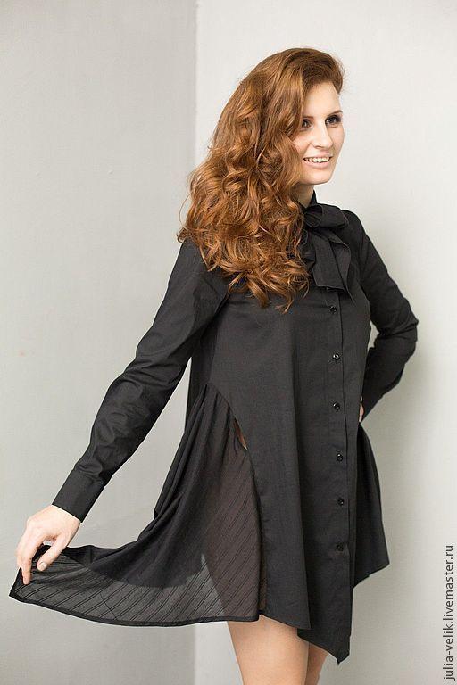 Платья ручной работы. Ярмарка Мастеров - ручная работа. Купить Платье-рубашка Мурашки по коже. Handmade. Черный, модная одежда
