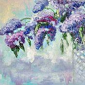 Картины и панно handmade. Livemaster - original item Oil painting palette knife lilac. Handmade.